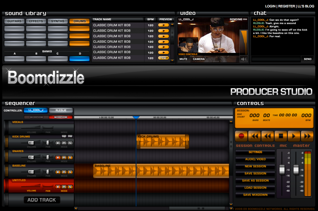 LL Cool J's Boomdizzle Producer Studio Architecture and UI Design